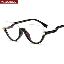 Peekaboo clear crystal half frame cat eye eye glasses women optical vintage black designer brand eyewear frames women ladies(China (Mainland))
