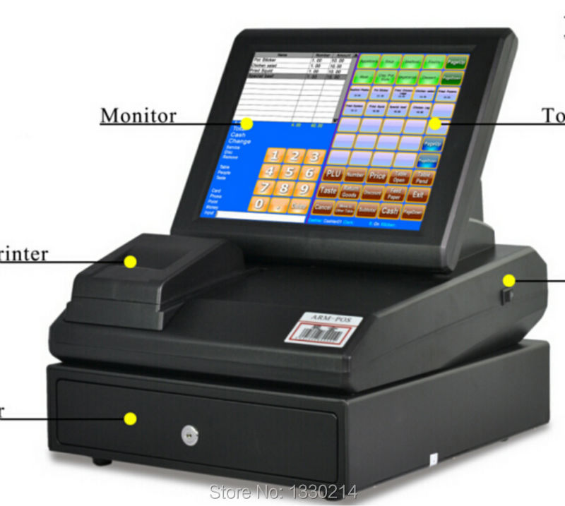 High quality Linux system touch screen pos with terminal equipment(China (Mainland))