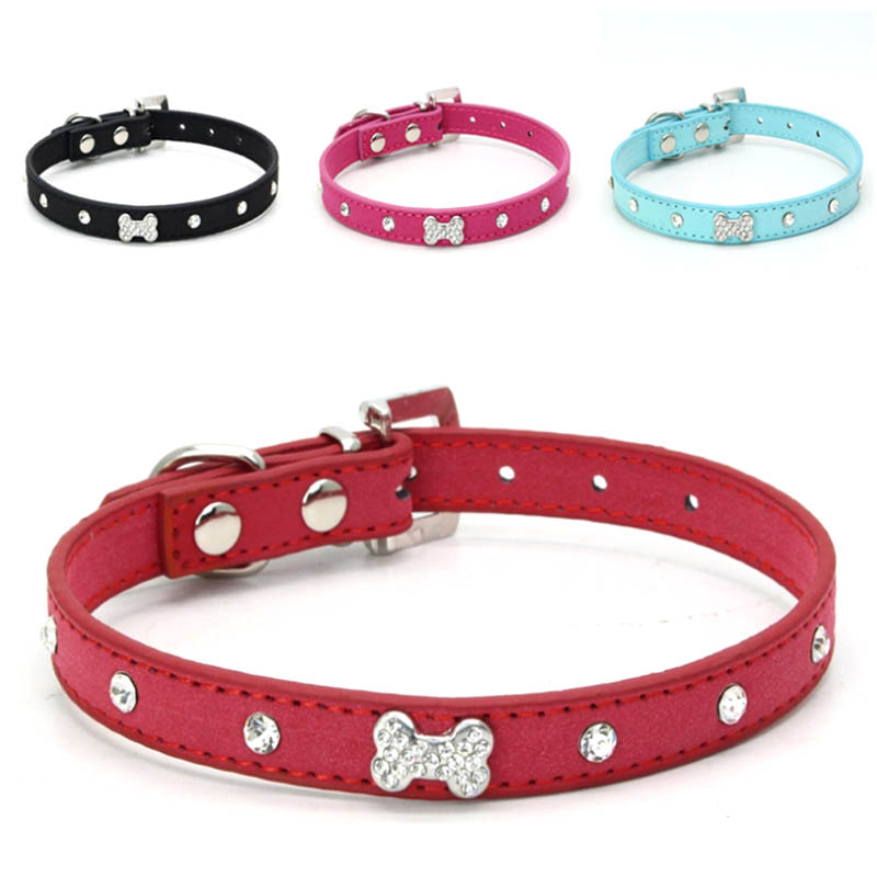 Puppy Necklace Small dog Collar Bone Charm Pu Leather Collar for dogs Bib Pet Harness Leash Little Pet(China (Mainland))