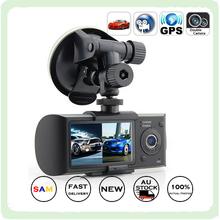 X3000 2.7 » с двумя объективами камеры черточки автомобильный видеорегистратор GPS g-сенсор cam-видеорегистратор