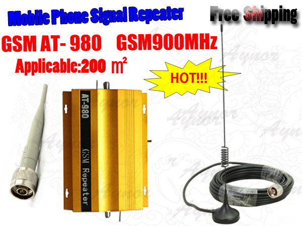 HOT!GSM Mobile Signals Repeater Booster Amplifier 900MHZ with Indoor Omnidirectional antenna+Outdoor Car Antenna with 10m cable(China (Mainland))