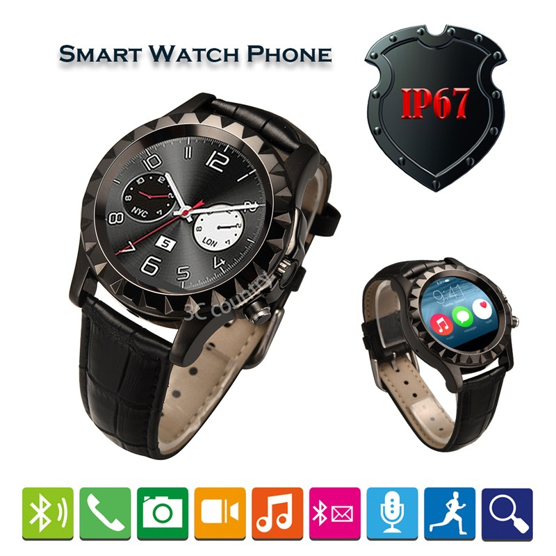Multi function Bluetooth Smart Watch Support heart rate monitor Android IOS/2.0MP Camera/calendar/weather PU Leather Wristwatch(China (Mainland))