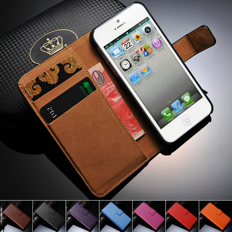 Genuine Leather Coque Case For iPhone 5 5S SE Wallet Stand With Card Holder Flip Phone Back Cover For i Phone 5 5S Cases Casing(China (Mainland))