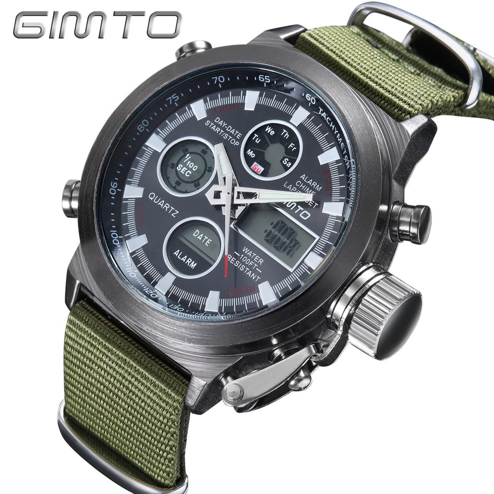 2016 Hot Brand GIMTO Quartz Digital Men Sports Watches Leather Nylon LED Military Army Multi-Function Wristwatch Reloj Hombre <br><br>Aliexpress