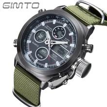 2016 Hot Brand GIMTO Quartz Digital Sports Watches Men Leather Nylon LED Military Army Waterproof Diving Wristwatch Reloj Hombre