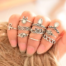 10pcs/Set Vintage Ring Set Unique Carved Antique Silver Anillos Crystal  Knuckle Rings for Women  Boho Beach Jewelry(China (Mainland))