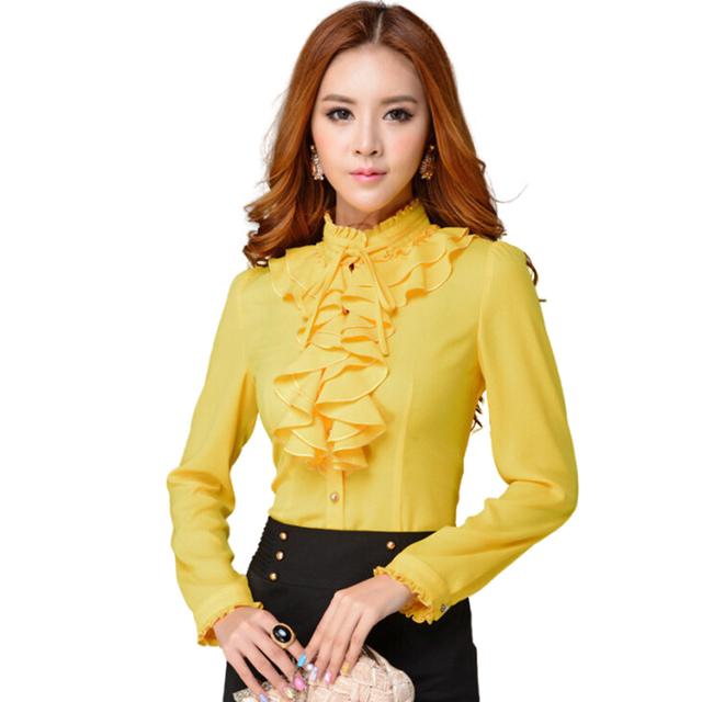 Мода стенд воротник с длинным рукавом желтый женский рубашка пр офис формальная элегантный ...