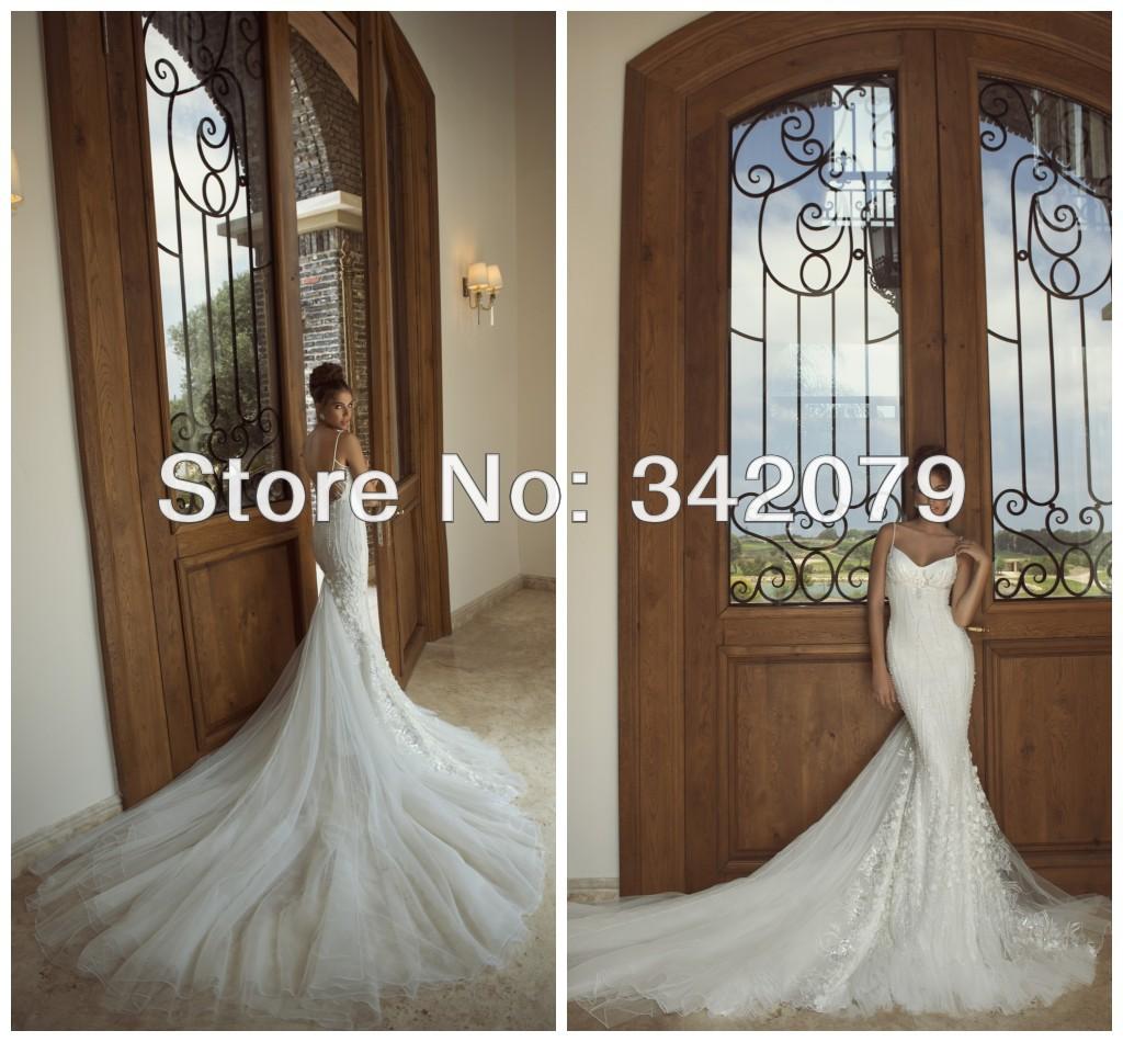 ph02284 galia lahav 2014 Flamboyant floral sheer back long tulle train trimmed silver sequined lace mermaid wedding dress(China (Mainland))