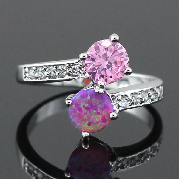 Lovely Synthetic Pink Fire Opal Pink Topaz Silver Plated Women Opal Ring Size 6 7 8 9 96PD Free Gift Box(China (Mainland))