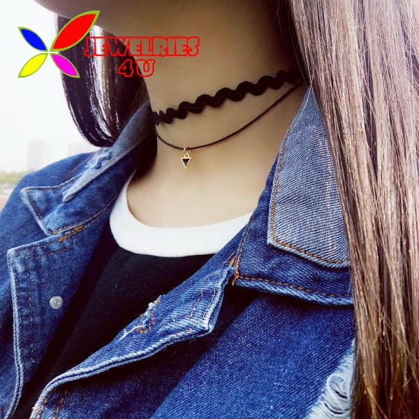 2016 Hot Collars Fashion Designer Trendy Double Layers Leather Wave Rope Choker Necklaces For Women Bijouxs(China (Mainland))