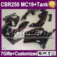 7gifts+Tank HONDA CBR250RR MC19 86 87 88 89 CBR250 RR red line 9*90 CBR 250RR 1986 1987 1988 1989 Fairings glossy black - MotoParts store