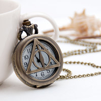 Retro Necklace Harry Potter Death Hallows Necklace Pocket Watch Jewelry Charm Men and Women