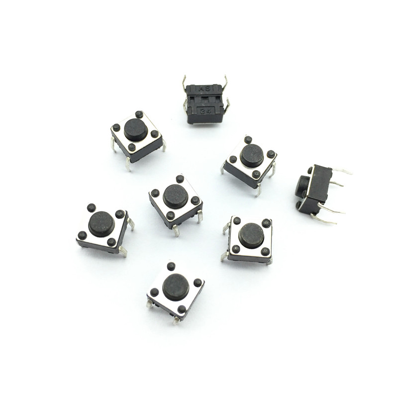 150 Pcs Tact Switch 6x6x4.3 (h) Iron Foot Insert Feature Momentary Contact 4 Pins DC 12V 0.5a Power Switch Button(China (Mainland))