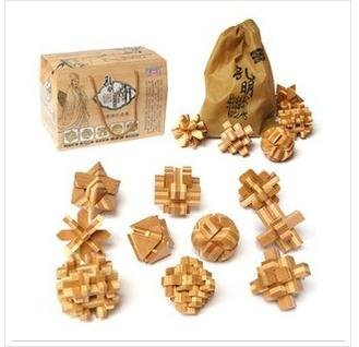 Wholesale 10pcs/set Wooden Brain Teaser Puzzle Toy Box novelty gifts novelty puzzle toy 3-D Bamboo Star PuzzleFree Shipping(China (Mainland))