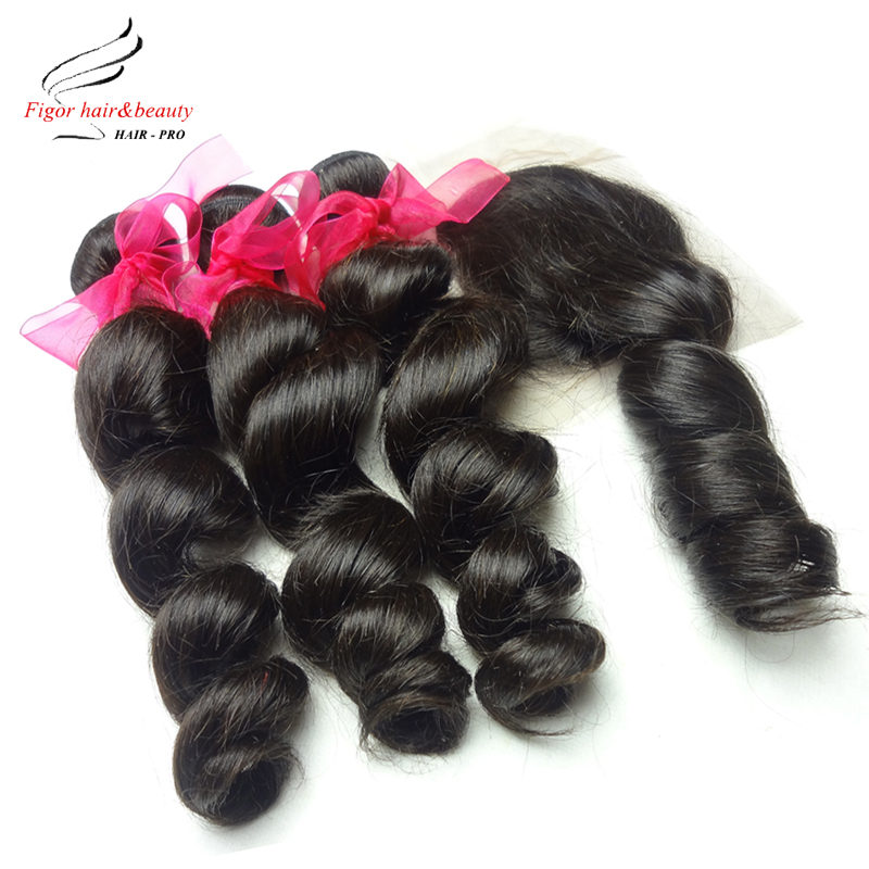 6A Peruvian Virgin Hair With Closure 3 Bundles Peruvian Loose Wave With Lace Closure Human Hair With Closure Bundle 4*4 Lace