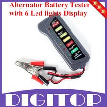 Mejor calidad Tirol 12 Volt batería y alternador Tester con 6 luces Led de visualización para coches y camiones envío gratis