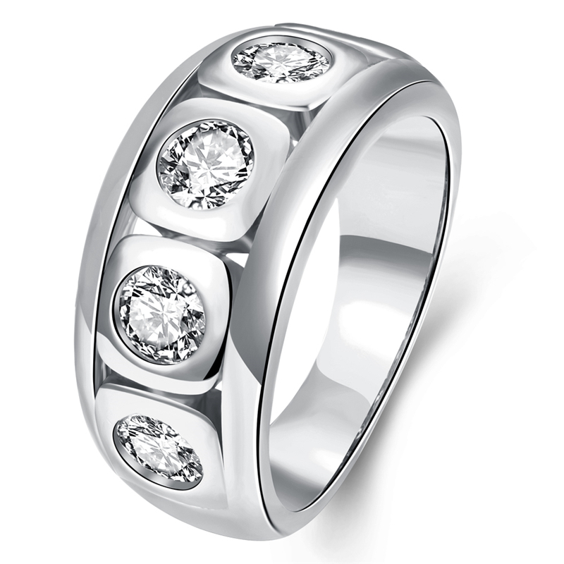 bl solid 14k white gold plated cz half eternity