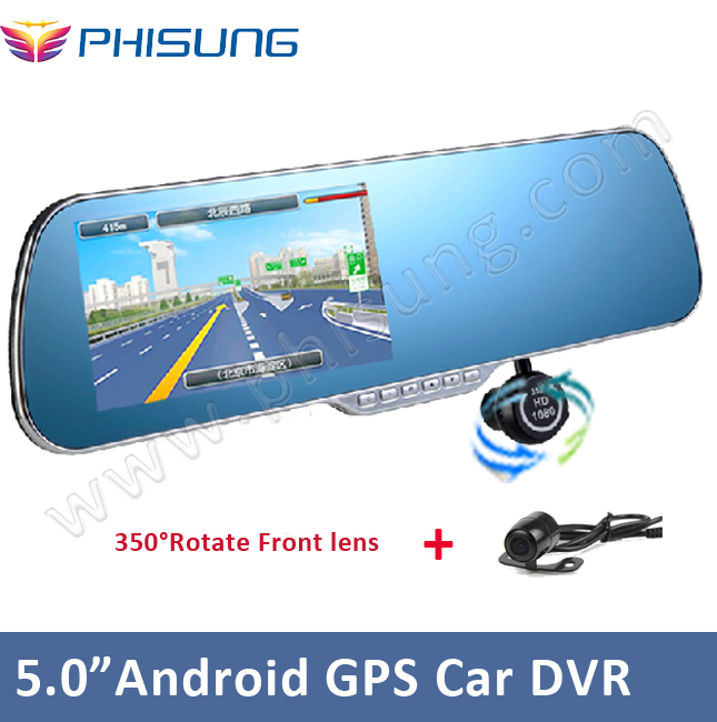 """Android GPS car rearview mirror camera dvr +Dual Lens with waterproof back up rear lens+ 5.0""""Touch Screen+WiFi+ FM transmiter(China (Mainland))"""