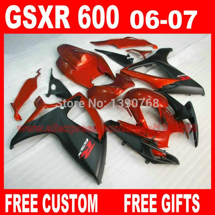 Motorcycle parts for SUZ UKI fairings GSXR600 GSXR 750 06 07 red matte black ABS fairing kit 2006 2007 gsxr600 gsxr750 K6 BH84(China (Mainland))
