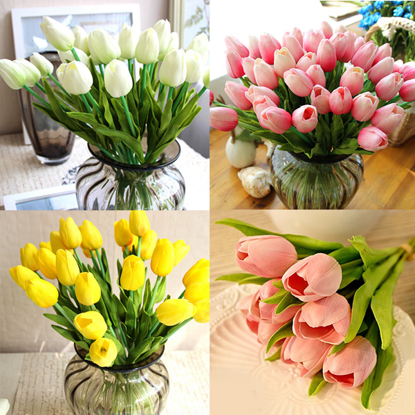 Hot Delightful Pretty Real Touch PU Tulips Flower Single Stem Bouquet Centerpiece Room Party Wedding Decor(China (Mainland))