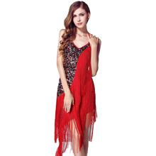 Buy 2016 Fashion Sexy Backless Bandage Women Short Dress Sequined Tassel Patchwork Latin Dancing Vestidos Summer Halter DressesFC507