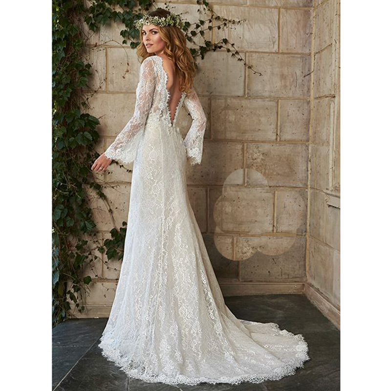 Hot bohemian wedding dress illusion long sleeve backless for Backless boho wedding dress