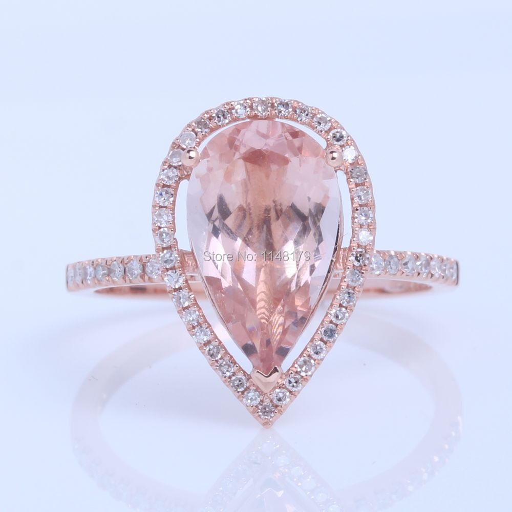 8x12mm Pear 2 6ct Morganite & Pave 0 25ct Natural Dreamlike Glamorous Fas