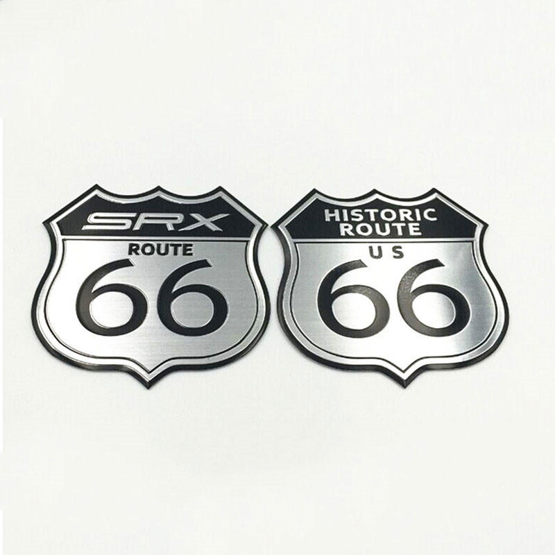 Car Styling 3D Sticker Motorcycle Decal US HISTORIC ROUTE 66 ROAD Sign Emblem Badge SRX Logo For Cadillac Toyota Ford Laptop(China (Mainland))