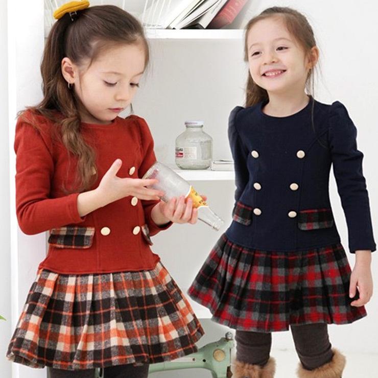 2015 New baby girls dress spring autumn plaid full sleeve children kid's campus school princess dress cotton wear(China (Mainland))