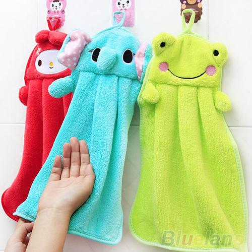 Cartoon Hand Towel Soft Plush Fabric Animal Hanging Wipe Nursery Bathing Towel 58ZW