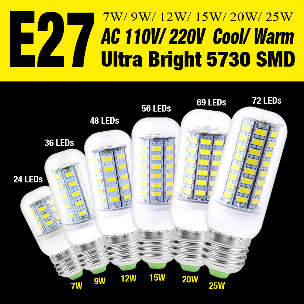 Bombillas E27 Corn LED bulb 5730 LED Light AC 110V/220V 7W 9W 12W 15W 20W 25W 24-72 LEDs Cool/Warm White Luz Home Light EB6698(China (Mainland))