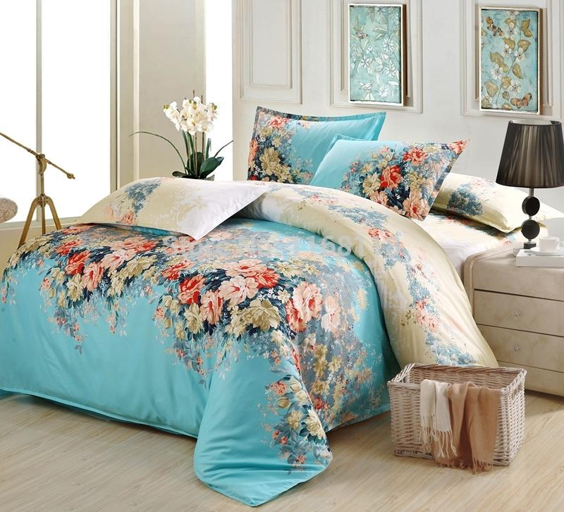 buy 4pcs blue frolar bedding set soft
