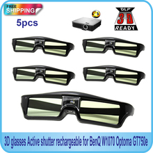 Free Shipping!!5PCS Active shutter 144Hz 3D Glasses For Acer/BenQ/Optoma/View Sonic/Dell DLP-Link Projector(China (Mainland))