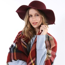 High Quality Top Fashion Sale Scottish Paid Scarf Cape Tartan For Ladies Thick Warm Dark Red Square Women Winter Luxury Poncho