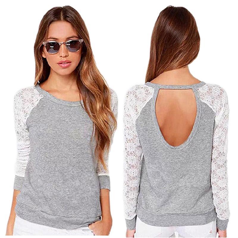 Новые 2016 т рубашки женщины моды марка длинным рукавом sexy кружева крючком футболки вышивка тонкий случайные топы плюс размер dp861179