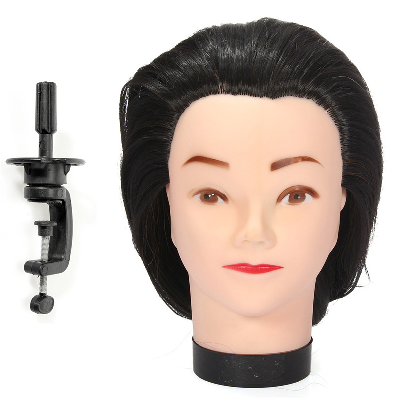 New 1PC Mannequin 18Inch Long Black Hair Hairdressing Cutting Model Practice Training Head Mannequin With Clamp Barber Accessory<br><br>Aliexpress