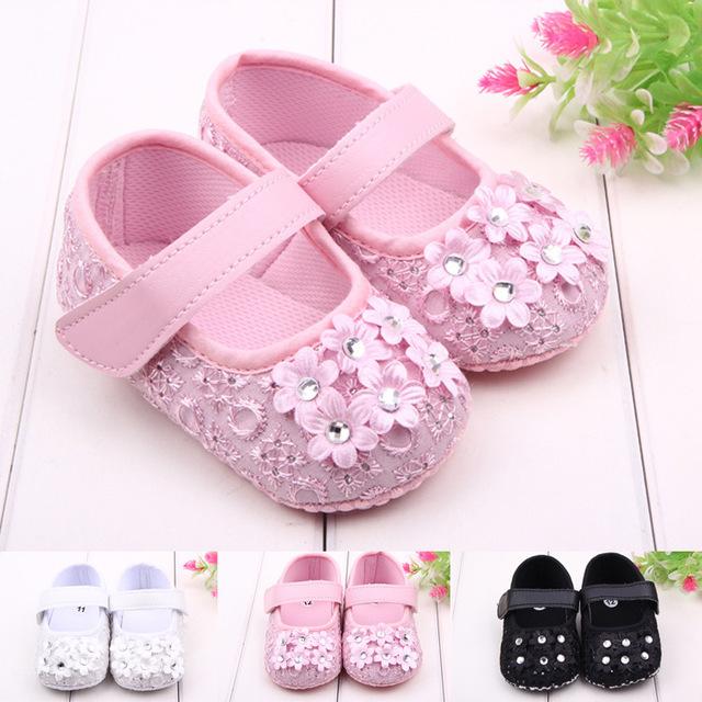 Младенцы лето цветок принцесса обувь обувь малыша мягкий подошвой обувь первые ходоки