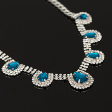 2015 New jewelry Luxury Unique Statement Necklace Bule and grey Crystal Necklaces Pendants For Women Free
