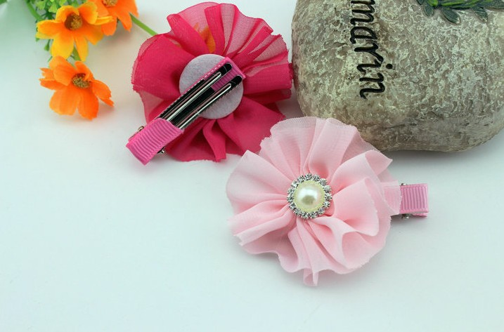 Free Shipping mix color 2.4'' Chiffon Flowers Hairclip DIY Fabric Flower Girl's Hair Accessories Handmade Flower FFHP11019(China (Mainland))