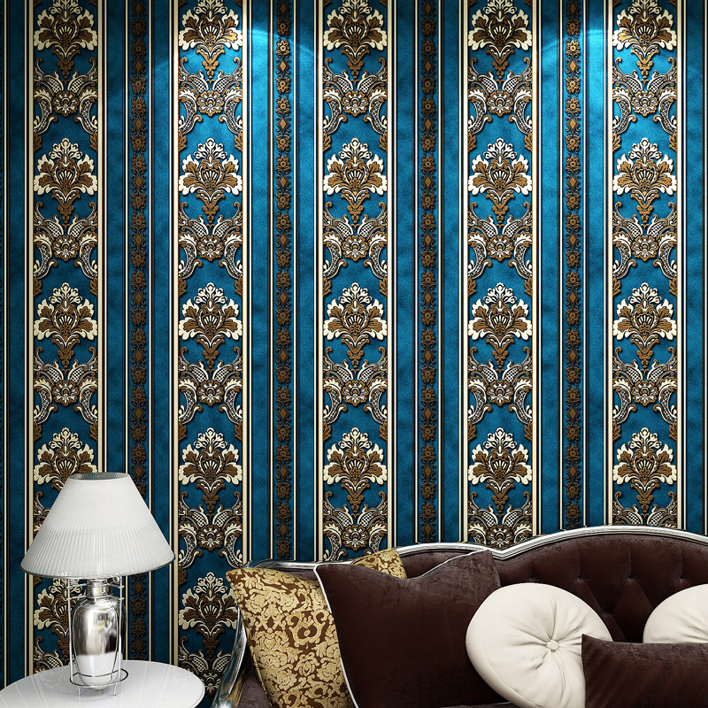 European luxury blue gold Damascus Non-woven Fabric Wall Paper 3D Living Room Wallpaper Bedroom Sofa TV Backgroumd Paper Roll