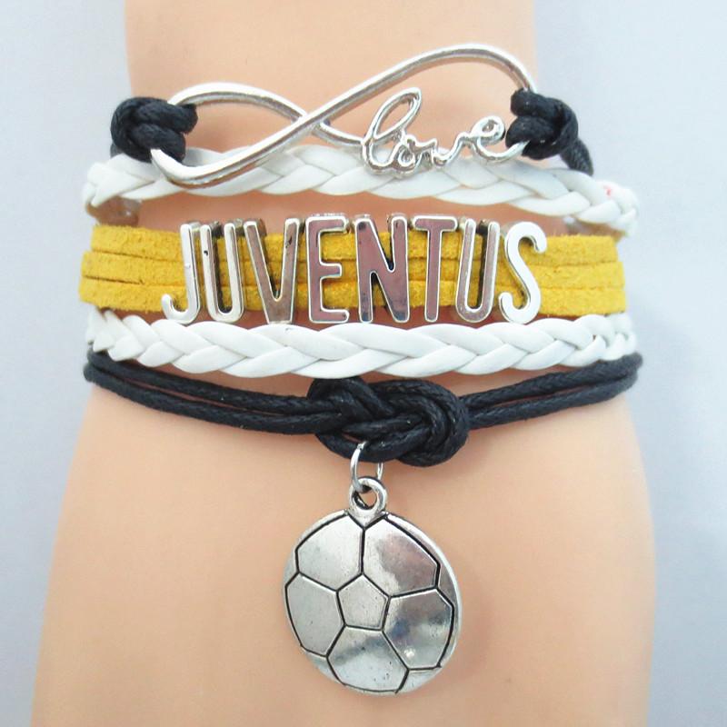 Infinity Love Juventus Soccer Team Bracelet yellow white black Custom Sports friendship bracelets B09500(China (Mainland))