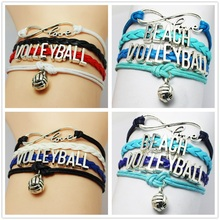 Infinity Love Volleyball Bracelet Trendy Sports Bracelet Personalized Vintage Silver Metal Volleyball Sports Jewelry Gift Custom(China (Mainland))
