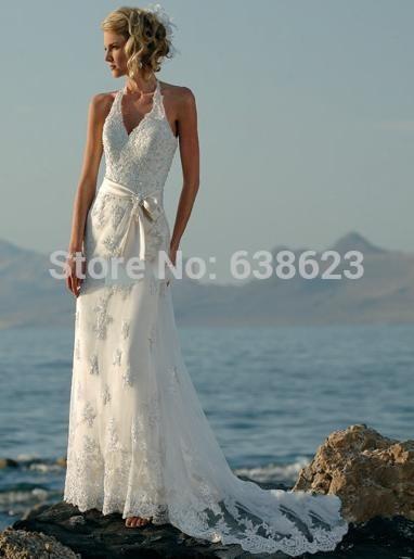 Aliexpress.com Comprar Balón vestido de boda vestido Hippie vestidos de China verde playa piso longitud tribunal tren Halter de encaje Off The Should 2015