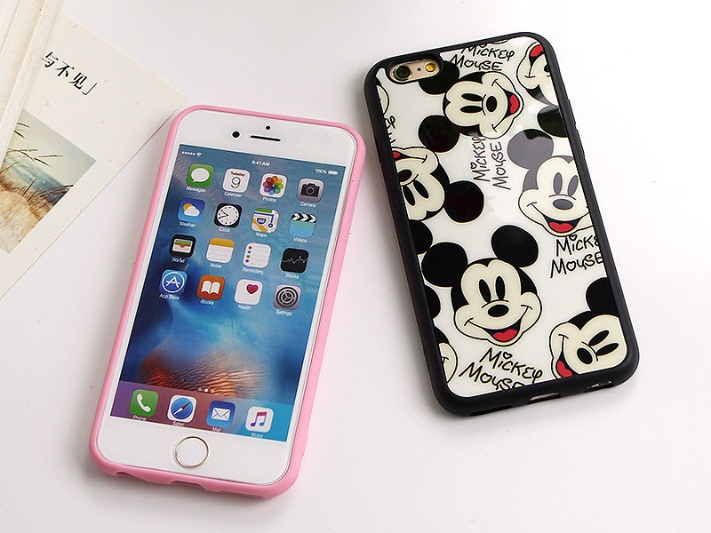 """Sweetheart Mickey Minnie Mouse black Silicone Phone Cover Mirror Case For Apple iPhone 7 6 6S 4.7""""/ 6 7 Plus 5.5"""" 5 5S SE Capa"""