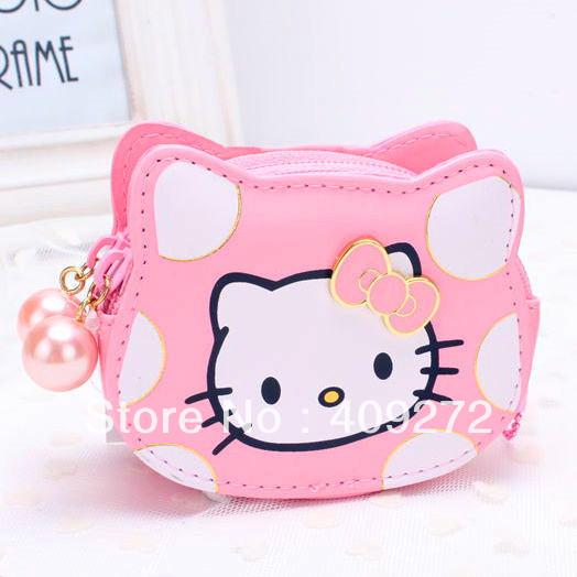 2015 Fashion Hello Kitty Purse Pink Dots Zero Wallet Cute Cat Head Face Girls Coin Purse for Children(China (Mainland))