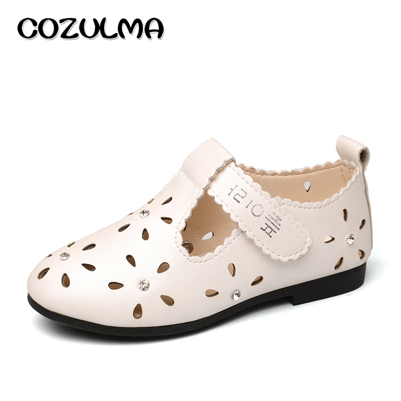 COZULMA Spring Summer Girls Shoes Kids PU Leather Cut-outs Sandals Baby Girls Rhinestone Princess Party Shoes Children Sneakers(China (Mainland))