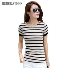 Buy Striped t shirt women tops 2017 casual tee shirt femme tshirt women t-shirt summer top camisetas poleras de mujer vetement femme for $8.71 in AliExpress store