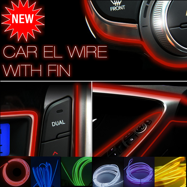 10- Color Green/Blue/Yellow/Red/White/Pink 3m Flexible Moulding EL Neon Glow Lighting Rope Strip with fin for Car Decoration(China (Mainland))
