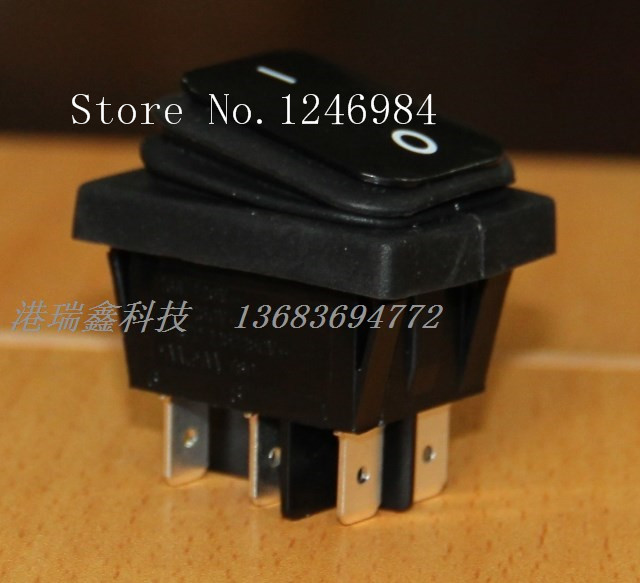[SA]Power switch RLEIL black rocker switch DPDT water and oil repellency big ship RL2 (P) -22-BB--20pcs/lot<br><br>Aliexpress