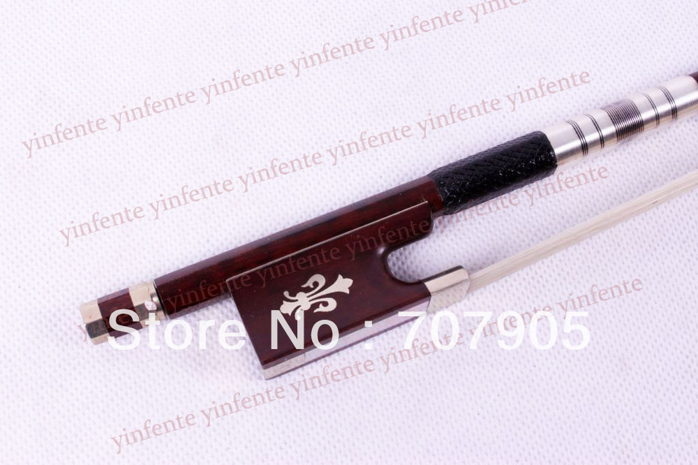 New 4/4 Violin Bow get quality SnakeWood Bow string Silver Color Flower inlaid  Pattern<br><br>Aliexpress